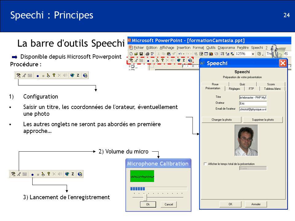 24 Speechi : Principes La barre d'outils Speechi Disponible depuis Microsoft Powerpoint Procédure : 1)Configuration Saisir un titre, les coordonnées d