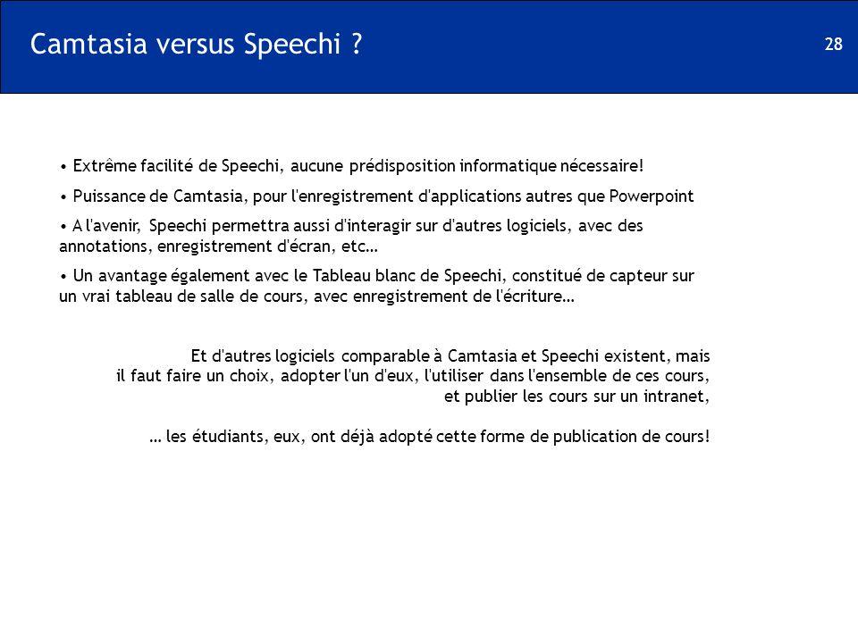 28 Camtasia versus Speechi ? Extrême facilité de Speechi, aucune prédisposition informatique nécessaire! Puissance de Camtasia, pour l'enregistrement