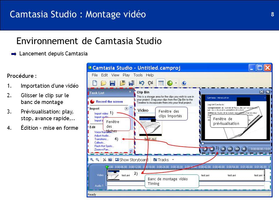 8 Camtasia Studio : Montage vidéo Environnement de Camtasia Studio Fenêtre des tâches Fenêtre des clips importés Banc de montage vidéo Timing Fenêtre