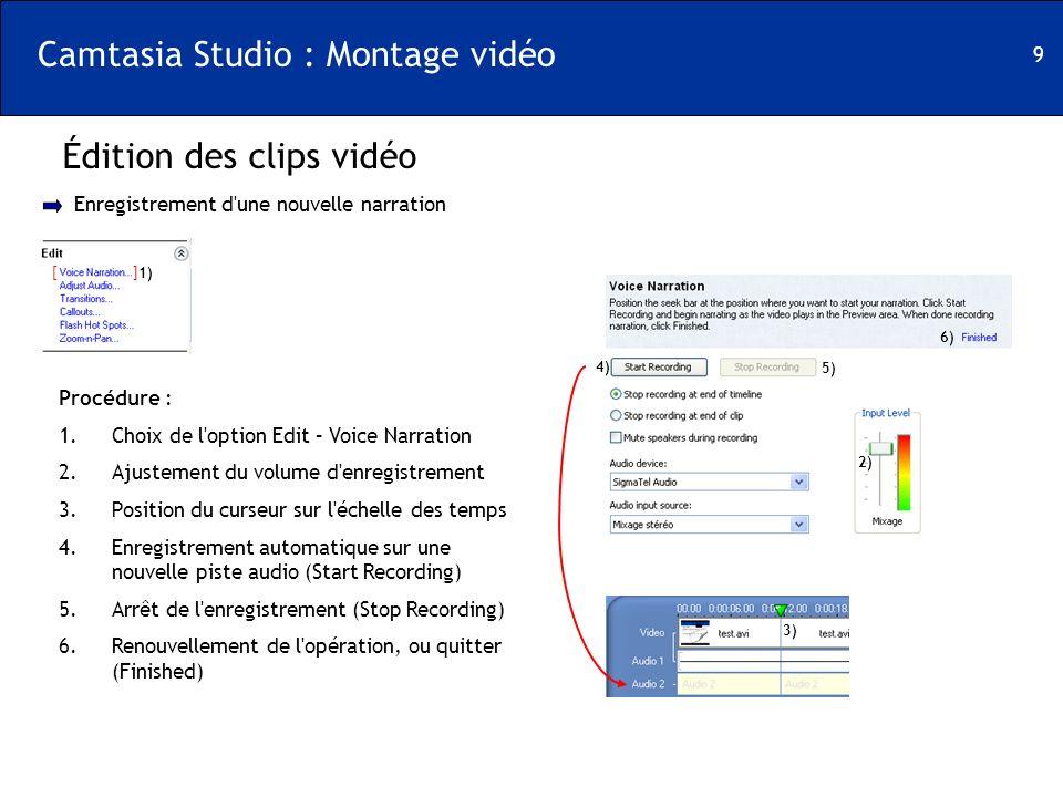 9 Camtasia Studio : Montage vidéo Édition des clips vidéo [ ] Enregistrement d'une nouvelle narration Procédure : 1.Choix de l'option Edit – Voice Nar