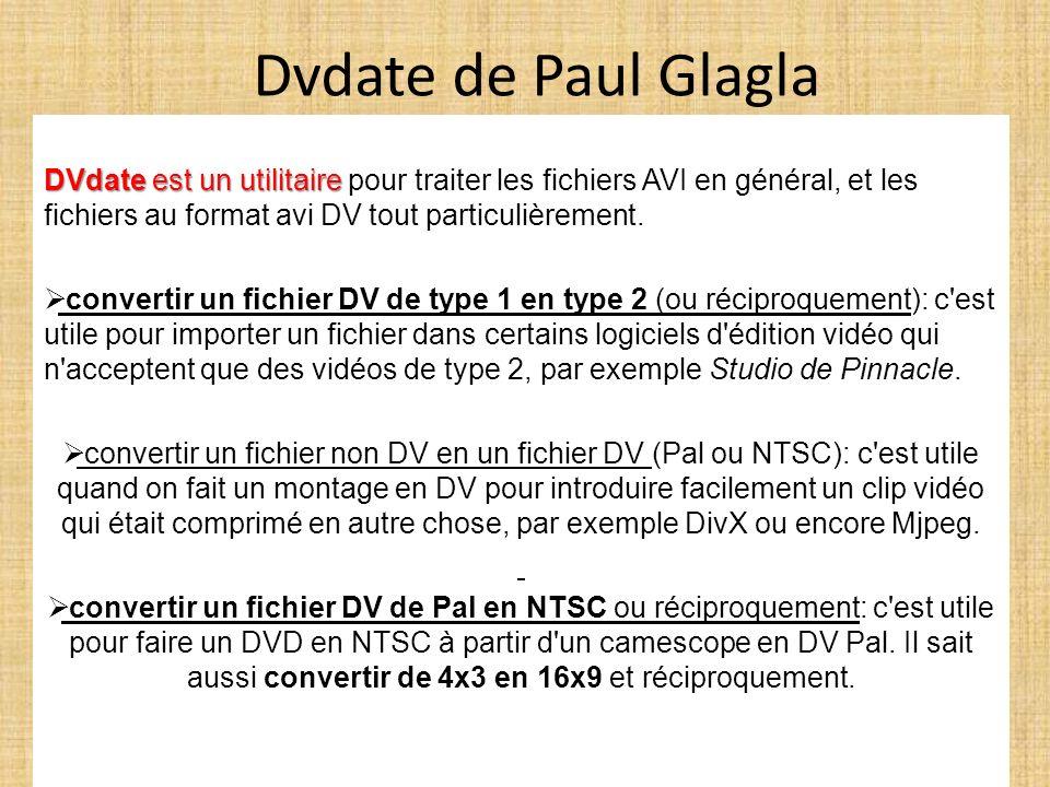 Dvdate de Paul Glagla DVdate est un utilitaire DVdate est un utilitaire pour traiter les fichiers AVI en général, et les fichiers au format avi DV tou