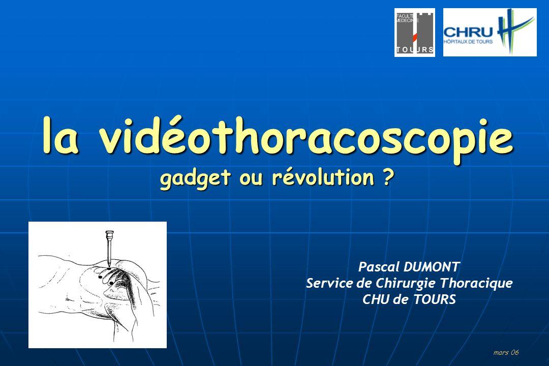 la vidéothoracoscopie gadget ou révolution ? mars 06 Pascal DUMONT Service de Chirurgie Thoracique CHU de TOURS