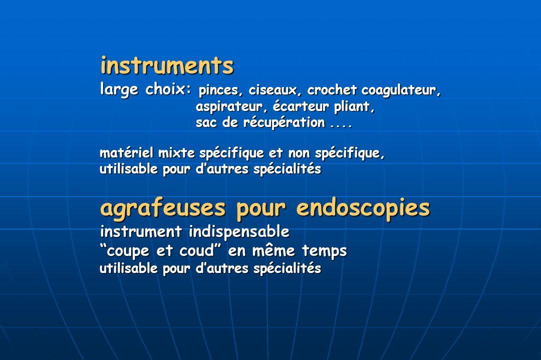 instruments large choix: pinces, ciseaux, crochet coagulateur, aspirateur, écarteur pliant, sac de récupération.... matériel mixte spécifique et non s