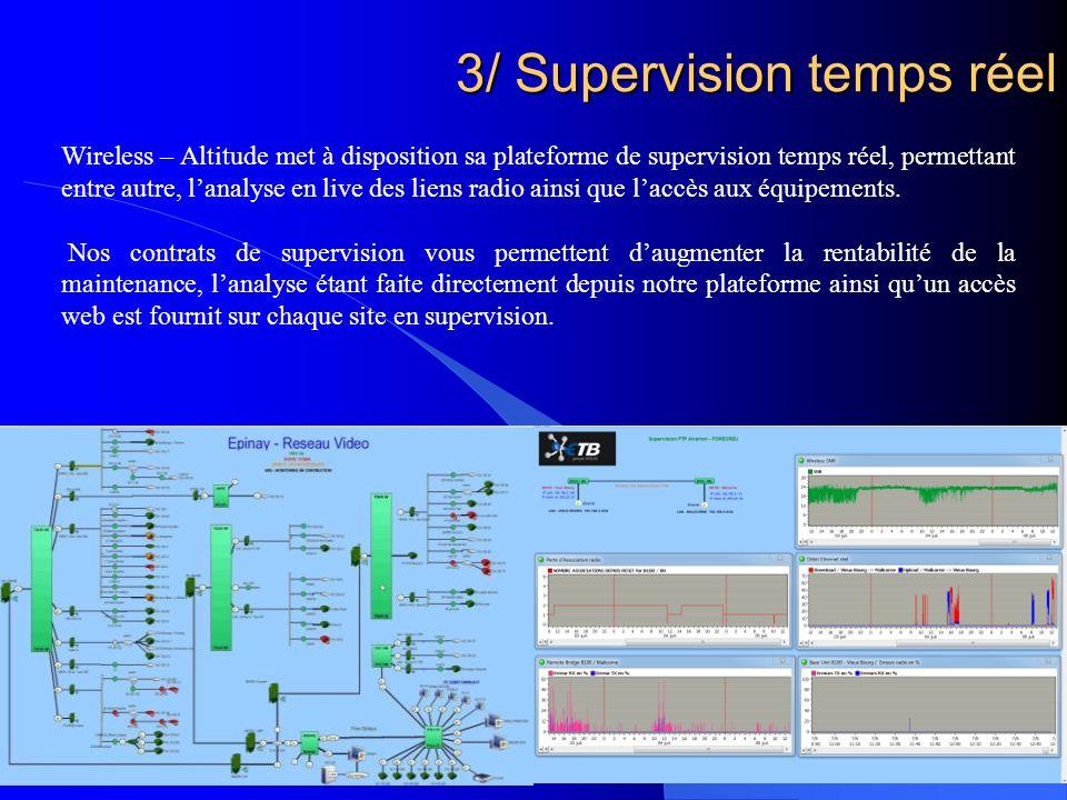 3/ Supervision temps réel Wireless – Altitude met à disposition sa plateforme de supervision temps réel, permettant entre autre, lanalyse en live des liens radio ainsi que laccès aux équipements.