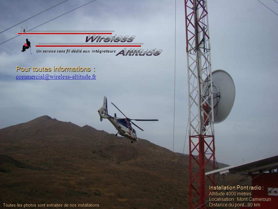 Installation Pont radio : Altitude 4000 mètres Localisation : Mont Cameroun Distance du pont : 90 km Pour toutes informations : commercial@wireless-altitude.fr Toutes les photos sont extraites de nos installations.