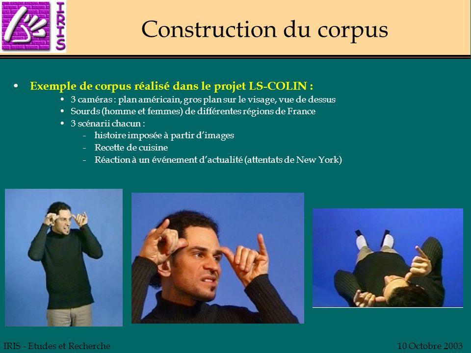 IRIS - Etudes et Recherche10 Octobre 2003 Construction du corpus Exemple de corpus réalisé dans le projet LS-COLIN : 3 caméras : plan américain, gros