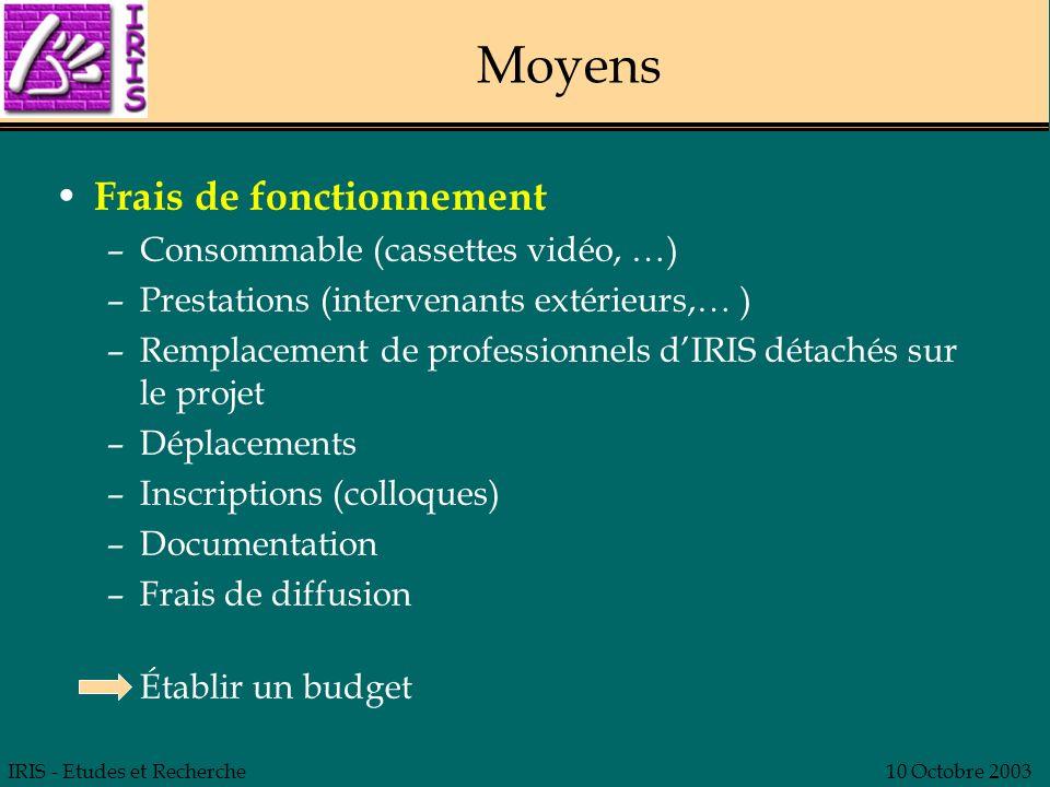 IRIS - Etudes et Recherche10 Octobre 2003 Moyens Frais de fonctionnement –Consommable (cassettes vidéo, …) –Prestations (intervenants extérieurs,… ) –