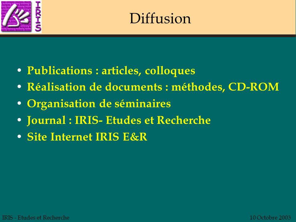 IRIS - Etudes et Recherche10 Octobre 2003 Diffusion Publications : articles, colloques Réalisation de documents : méthodes, CD-ROM Organisation de sém