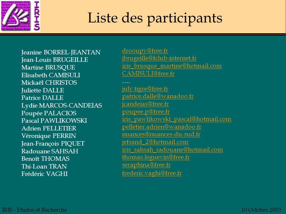 IRIS - Etudes et Recherche10 Octobre 2003 Liste des participants Jeanine BORREL-JEANTAN Jean-Louis BRUGEILLE Martine BRUSQUE Elisabeth CAMISULI Mickaë
