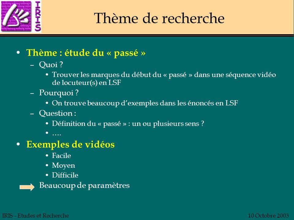 IRIS - Etudes et Recherche10 Octobre 2003 Thème de recherche Thème : étude du « passé » –Quoi ? Trouver les marques du début du « passé » dans une séq