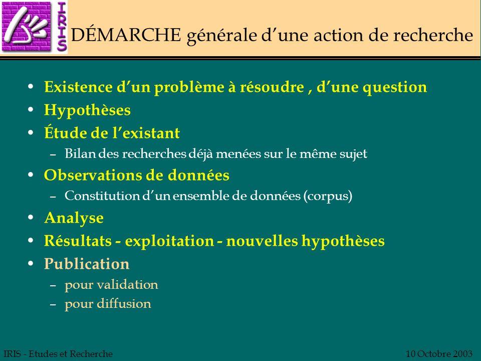 IRIS - Etudes et Recherche10 Octobre 2003 DÉMARCHE générale dune action de recherche Existence dun problème à résoudre, dune question Hypothèses Étude
