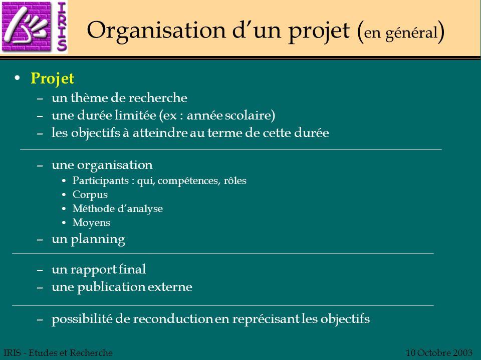 IRIS - Etudes et Recherche10 Octobre 2003 Organisation du projet de recherche Principes de travail En LSF, directement, sans interprète À partir dexemples vidéo, pas dune théorie à vérifier Pas de comparatif : Français - LSF Règles de fonctionnement –Participants Qui : ouvert mais groupe pas trop important (< 10).