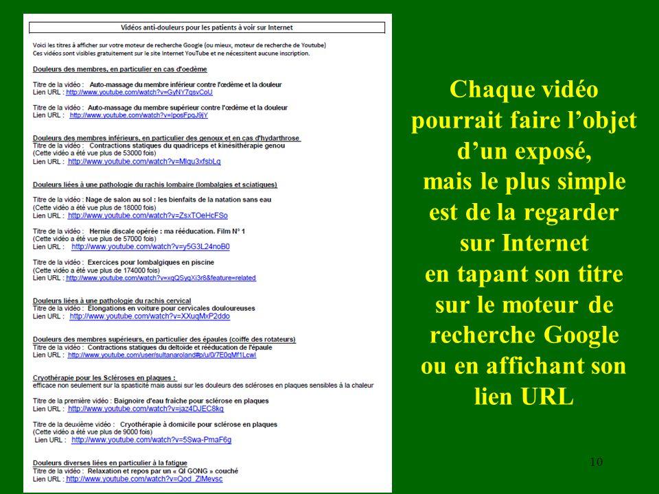 Chaque vidéo pourrait faire lobjet dun exposé, mais le plus simple est de la regarder sur Internet en tapant son titre sur le moteur de recherche Goog