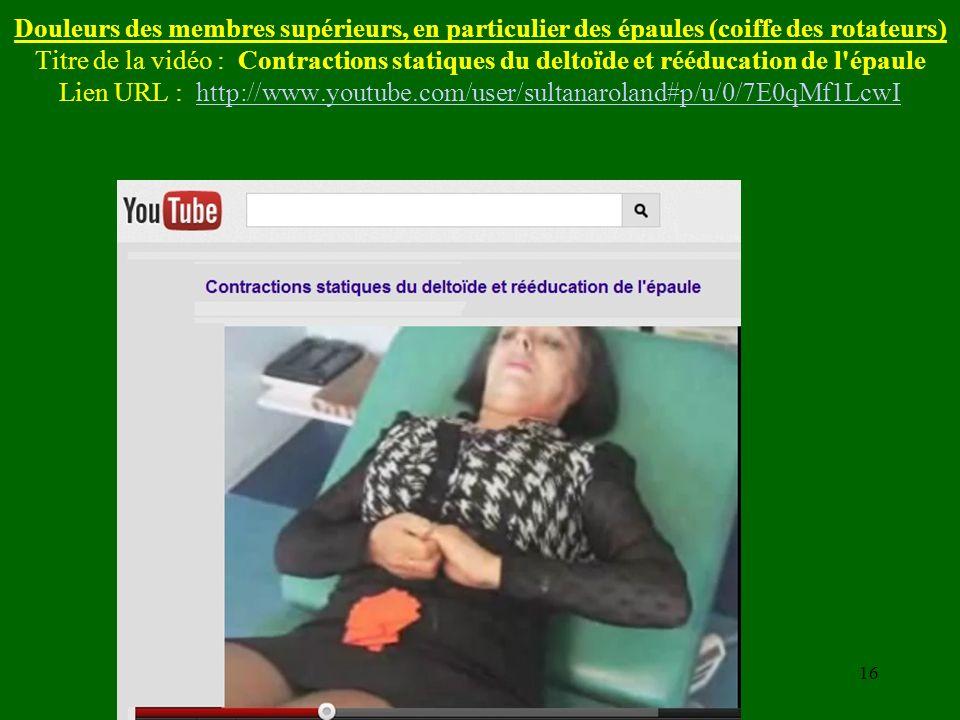 Douleurs des membres supérieurs, en particulier des épaules (coiffe des rotateurs) Titre de la vidéo : Contractions statiques du deltoïde et rééducati
