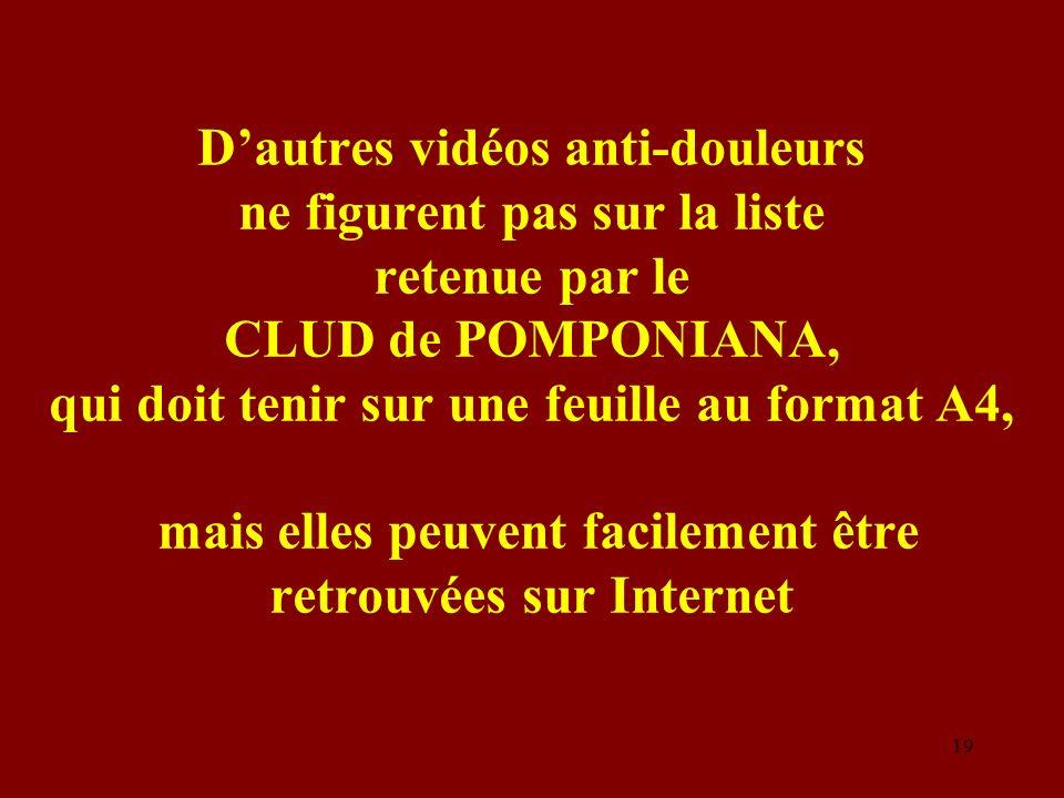 Dautres vidéos anti-douleurs ne figurent pas sur la liste retenue par le CLUD de POMPONIANA, qui doit tenir sur une feuille au format A4, mais elles p