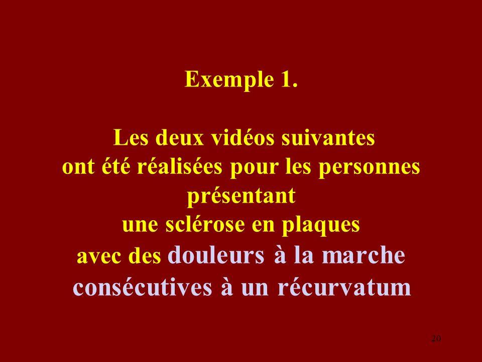 Exemple 1. Les deux vidéos suivantes ont été réalisées pour les personnes présentant une sclérose en plaques avec des douleurs à la marche consécutive