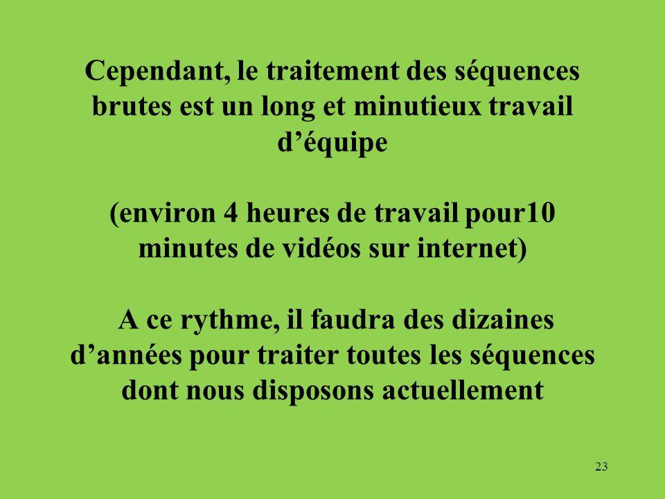 Cependant, le traitement des séquences brutes est un long et minutieux travail déquipe (environ 4 heures de travail pour10 minutes de vidéos sur inter