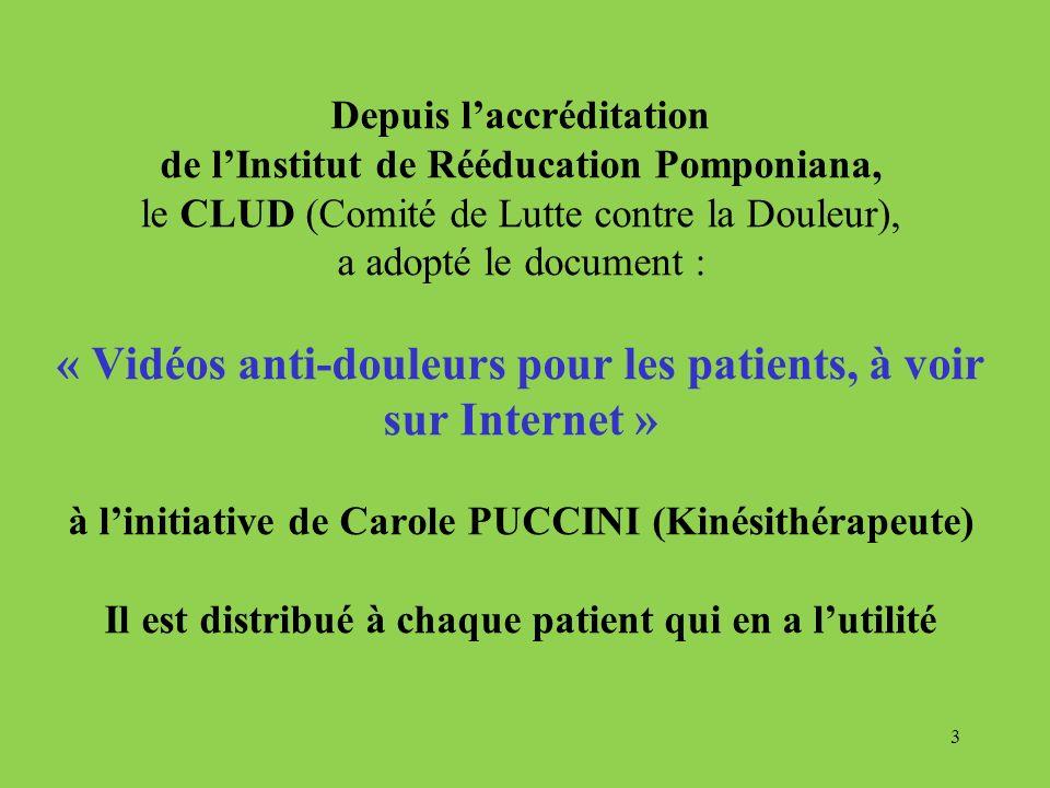 Depuis laccréditation de lInstitut de Rééducation Pomponiana, le CLUD (Comité de Lutte contre la Douleur), a adopté le document : « Vidéos anti-douleu