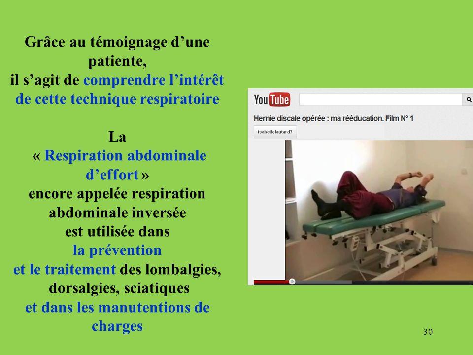 Grâce au témoignage dune patiente, il sagit de comprendre lintérêt de cette technique respiratoire La « Respiration abdominale deffort » encore appelé