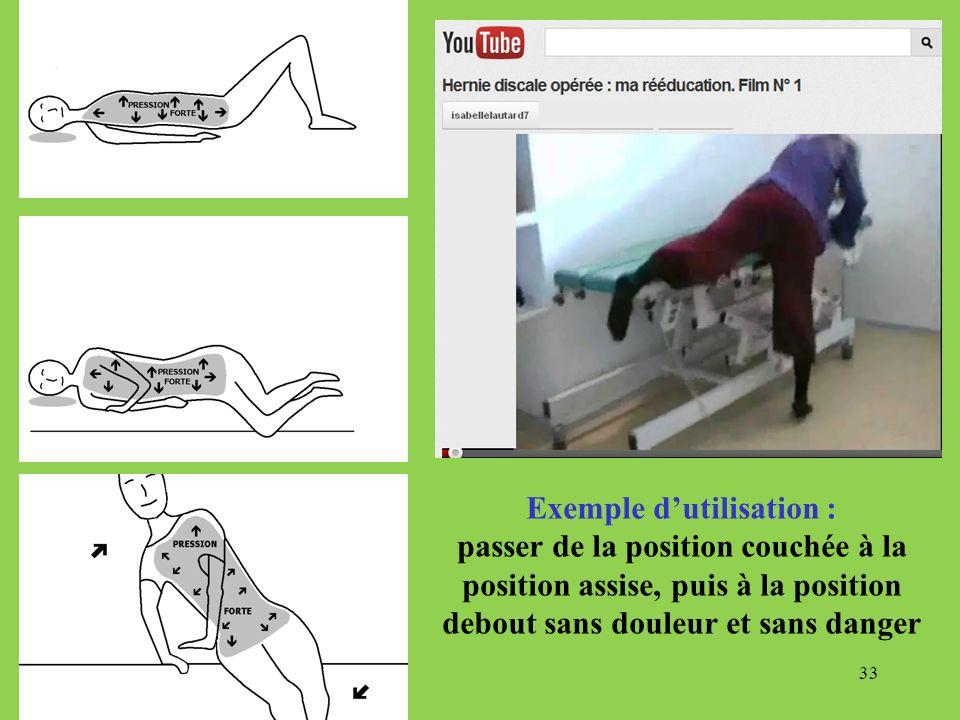 33 Exemple dutilisation : passer de la position couchée à la position assise, puis à la position debout sans douleur et sans danger