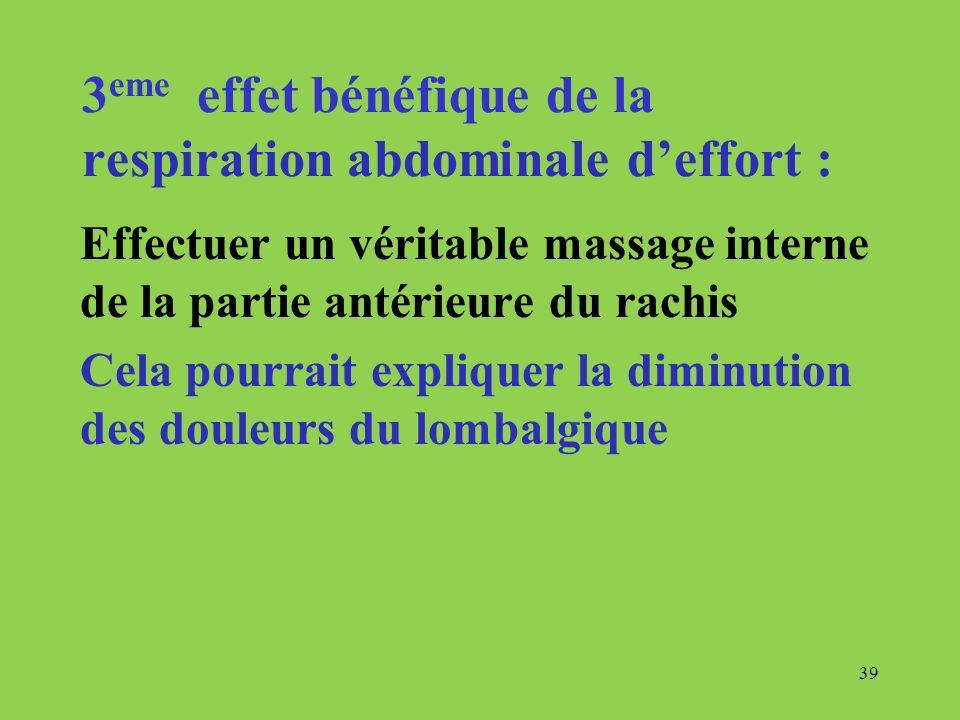 39 3 eme effet bénéfique de la respiration abdominale deffort : Effectuer un véritable massage interne de la partie antérieure du rachis Cela pourrait