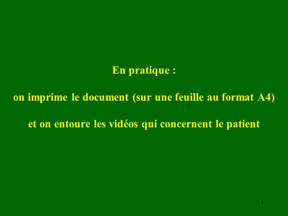 En pratique : on imprime le document (sur une feuille au format A4) et on entoure les vidéos qui concernent le patient 4
