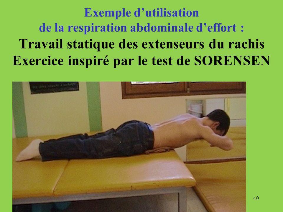 40 Exemple dutilisation de la respiration abdominale deffort : Travail statique des extenseurs du rachis Exercice inspiré par le test de SORENSEN