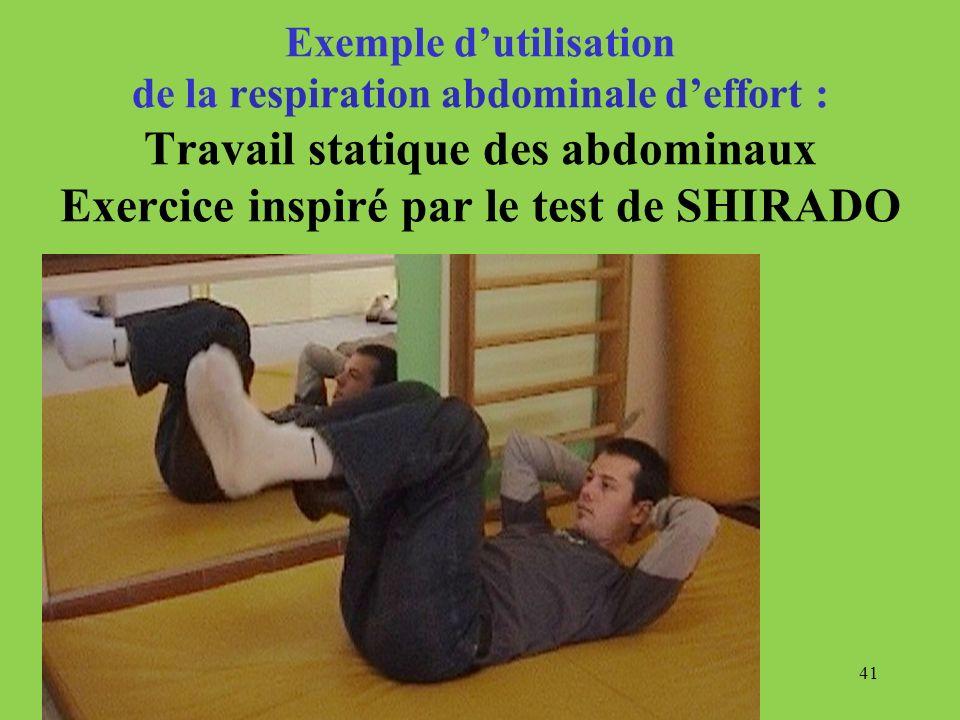 41 Exemple dutilisation de la respiration abdominale deffort : Travail statique des abdominaux Exercice inspiré par le test de SHIRADO