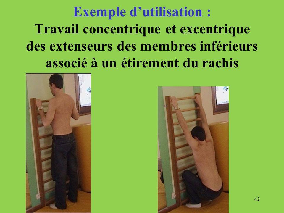 42 Exemple dutilisation : Travail concentrique et excentrique des extenseurs des membres inférieurs associé à un étirement du rachis