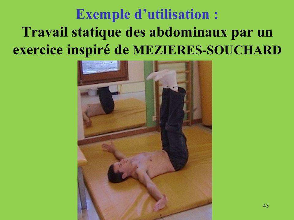 43 Exemple dutilisation : Travail statique des abdominaux par un exercice inspiré de MEZIERES-SOUCHARD