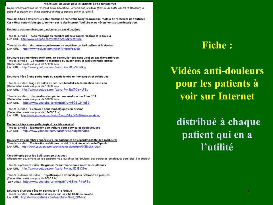 Fiche : Vidéos anti-douleurs pour les patients à voir sur Internet distribué à chaque patient qui en a lutilité 5