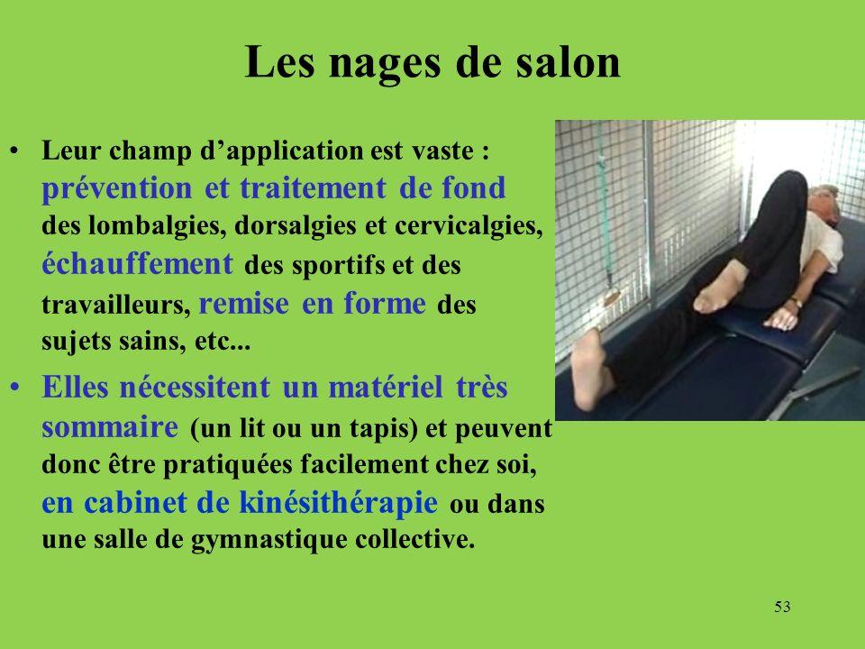 Les nages de salon Leur champ dapplication est vaste : prévention et traitement de fond des lombalgies, dorsalgies et cervicalgies, échauffement des s