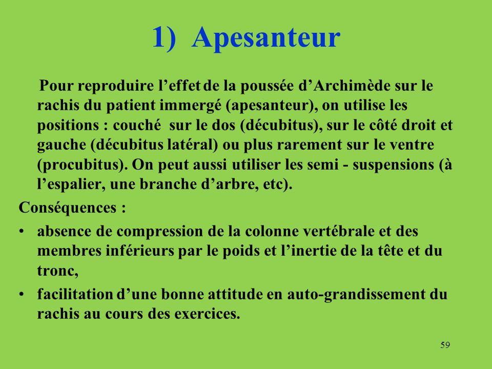 1) Apesanteur Pour reproduire leffet de la poussée dArchimède sur le rachis du patient immergé (apesanteur), on utilise les positions : couché sur le