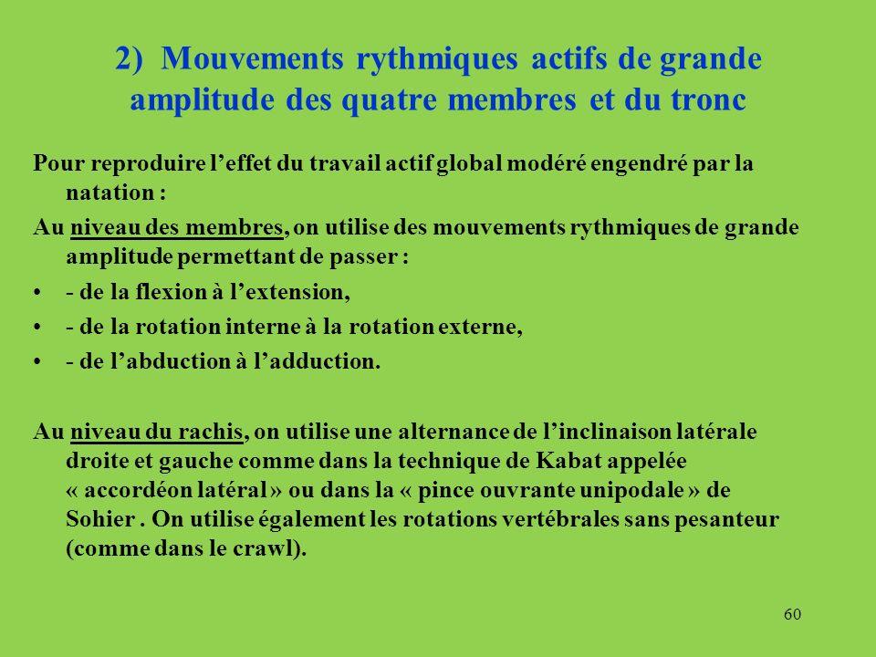 2) Mouvements rythmiques actifs de grande amplitude des quatre membres et du tronc Pour reproduire leffet du travail actif global modéré engendré par