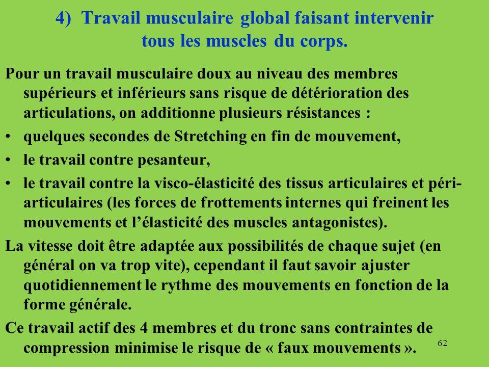 4) Travail musculaire global faisant intervenir tous les muscles du corps. Pour un travail musculaire doux au niveau des membres supérieurs et inférie