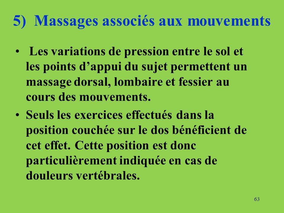 5) Massages associés aux mouvements Les variations de pression entre le sol et les points dappui du sujet permettent un massage dorsal, lombaire et fe