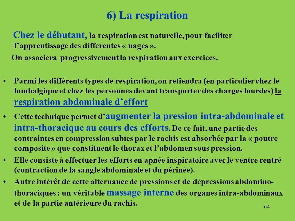 6) La respiration Chez le débutant, la respiration est naturelle, pour faciliter lapprentissage des différentes « nages ». On associera progressivemen