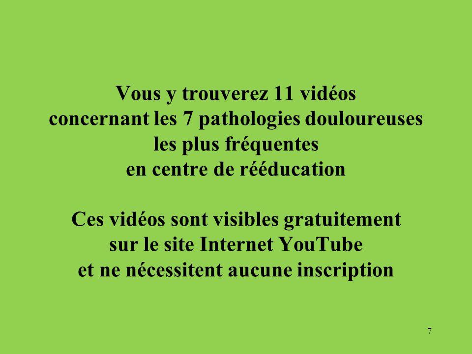 Vous y trouverez 11 vidéos concernant les 7 pathologies douloureuses les plus fréquentes en centre de rééducation Ces vidéos sont visibles gratuitemen