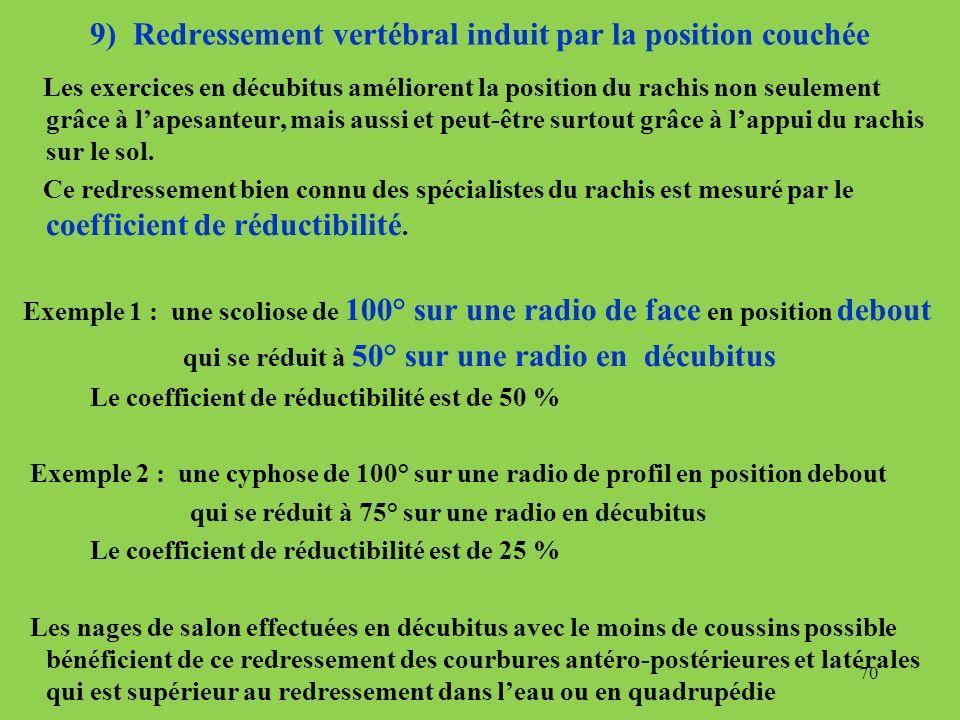 9) Redressement vertébral induit par la position couchée Les exercices en décubitus améliorent la position du rachis non seulement grâce à lapesanteur