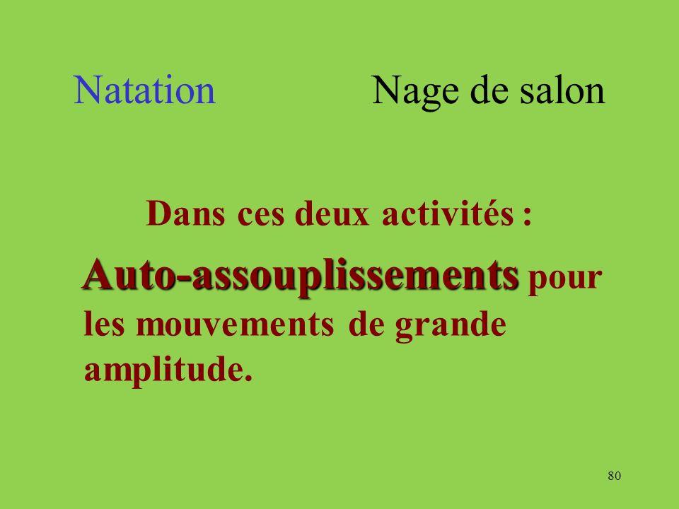 80 Natation Nage de salon Dans ces deux activités : Auto-assouplissements Auto-assouplissements pour les mouvements de grande amplitude.