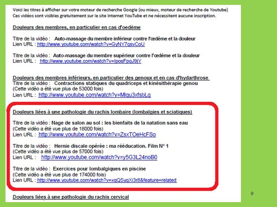 Chaque vidéo pourrait faire lobjet dun exposé, mais le plus simple est de la regarder sur Internet en tapant son titre sur le moteur de recherche Google ou en affichant son lien URL 10
