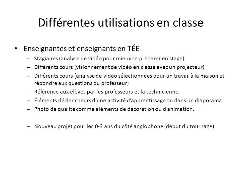 Différentes utilisations en classe Enseignantes et enseignants en TÉE – Stagiaires (analyse de vidéo pour mieux se préparer en stage) – Différents cou
