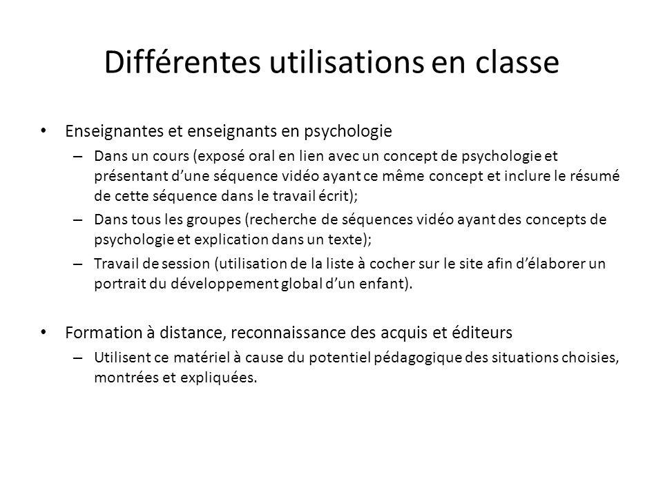 Différentes utilisations en classe Enseignantes et enseignants en psychologie – Dans un cours (exposé oral en lien avec un concept de psychologie et p