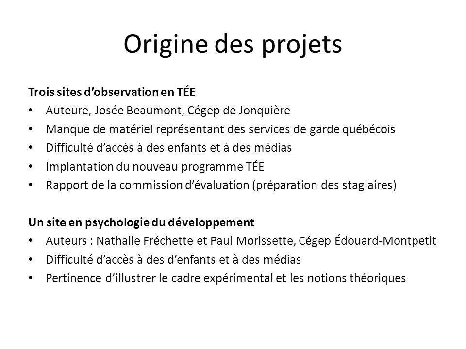 Origine des projets Trois sites dobservation en TÉE Auteure, Josée Beaumont, Cégep de Jonquière Manque de matériel représentant des services de garde