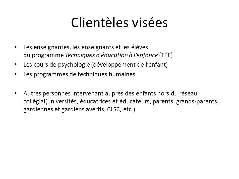 Clientèles visées Les enseignantes, les enseignants et les élèves du programme Techniques déducation à lenfance (TÉE) Les cours de psychologie (dévelo