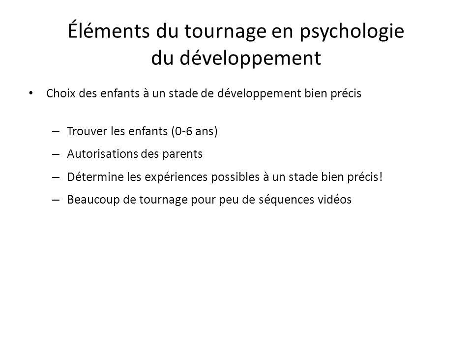 Éléments du tournage en psychologie du développement Choix des enfants à un stade de développement bien précis – Trouver les enfants (0-6 ans) – Autor