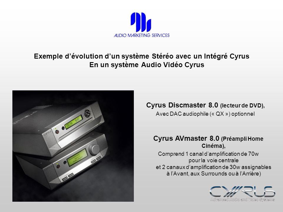 Exemple dévolution dun système Stéréo avec un Intégré Cyrus En un système Audio Vidéo Cyrus Cyrus Discmaster 8.0 (lecteur de DVD), Avec DAC audiophile