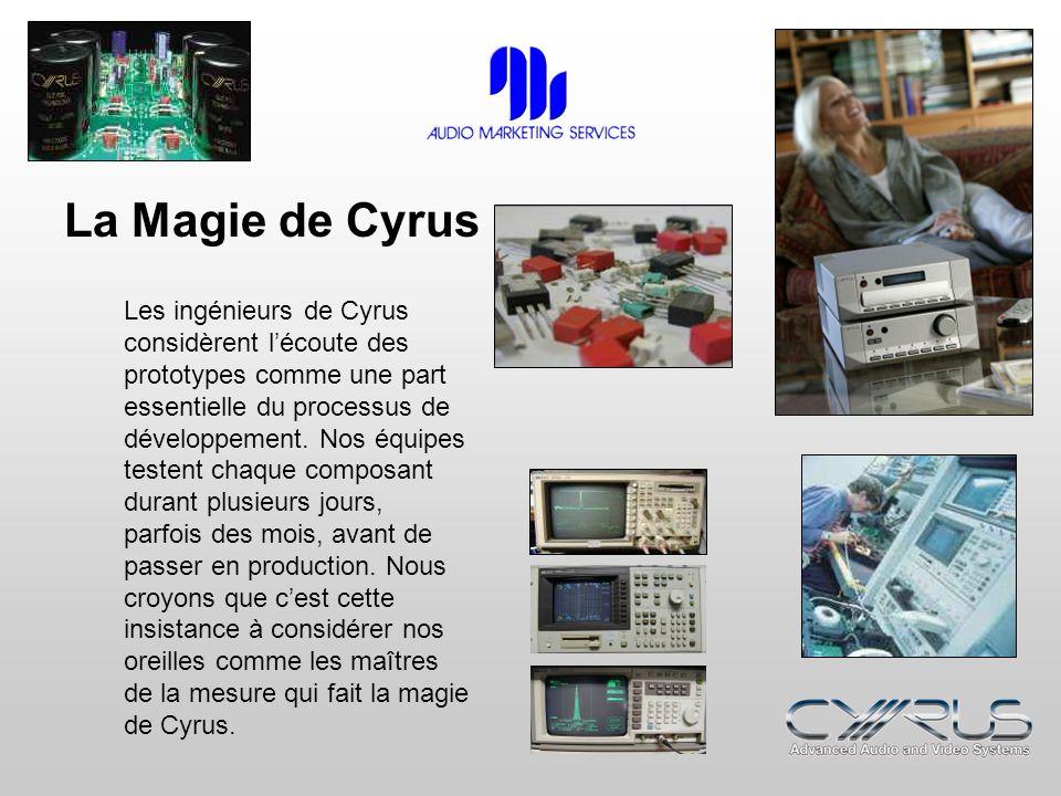La Magie de Cyrus Les ingénieurs de Cyrus considèrent lécoute des prototypes comme une part essentielle du processus de développement. Nos équipes tes