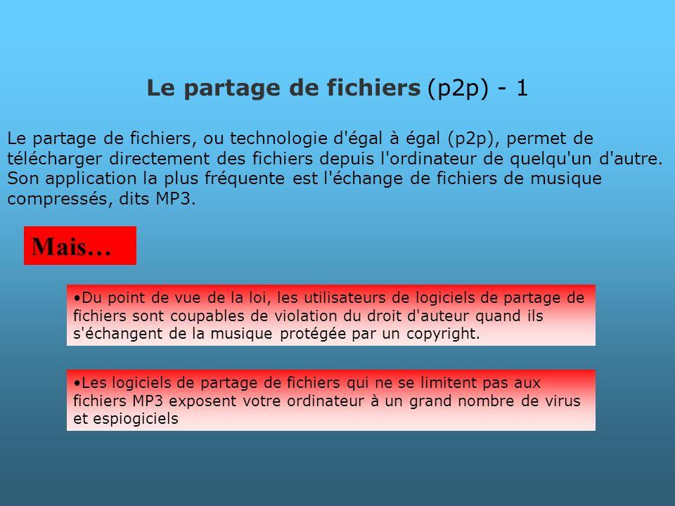 Le partage de fichiers (p2p) - 1 Le partage de fichiers, ou technologie d'égal à égal (p2p), permet de télécharger directement des fichiers depuis l'o