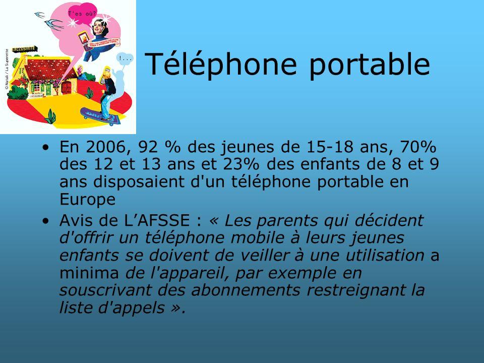 Téléphone portable En 2006, 92 % des jeunes de 15-18 ans, 70% des 12 et 13 ans et 23% des enfants de 8 et 9 ans disposaient d'un téléphone portable en